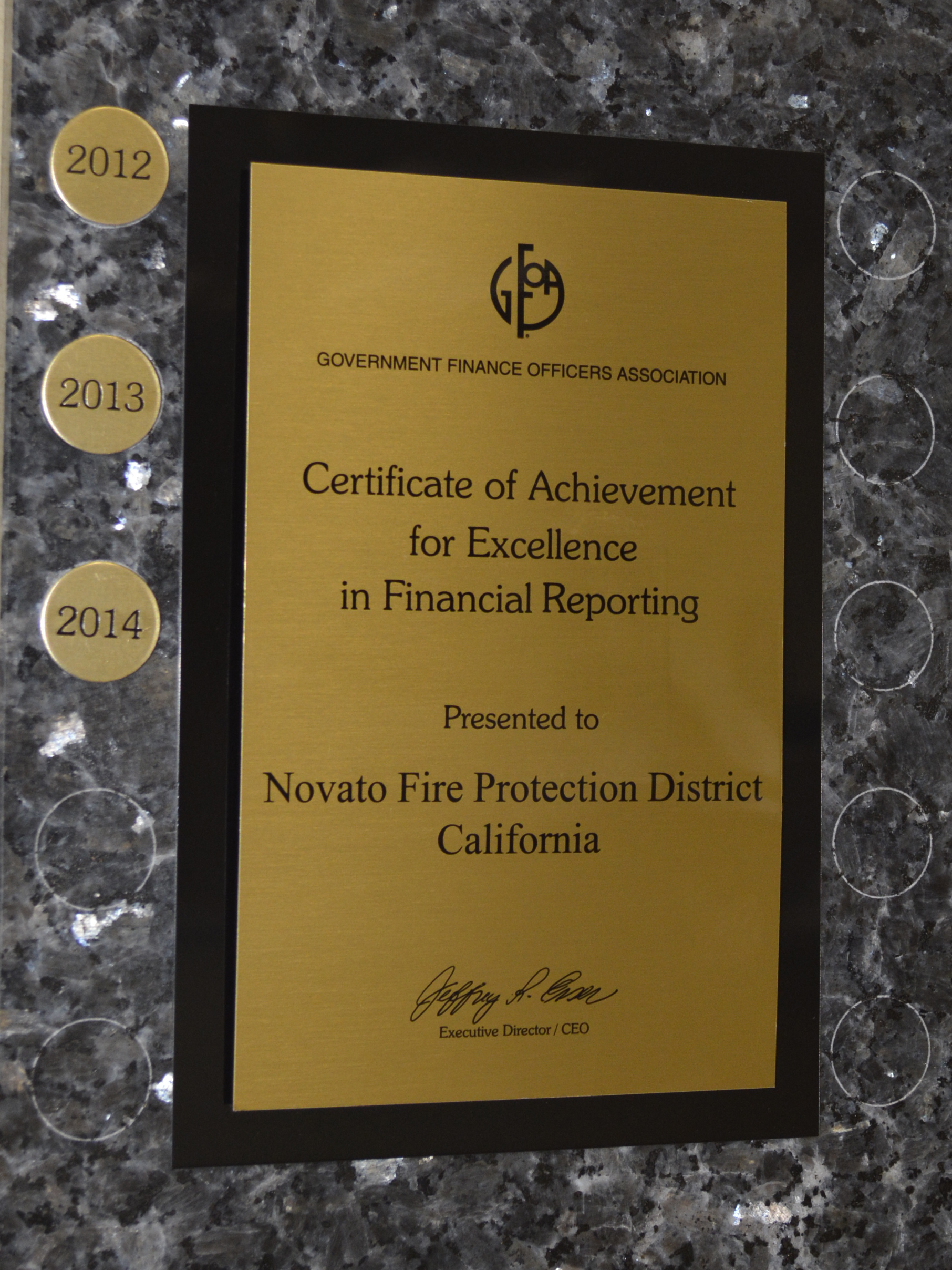 Comprehensive Annual Financial Report Award